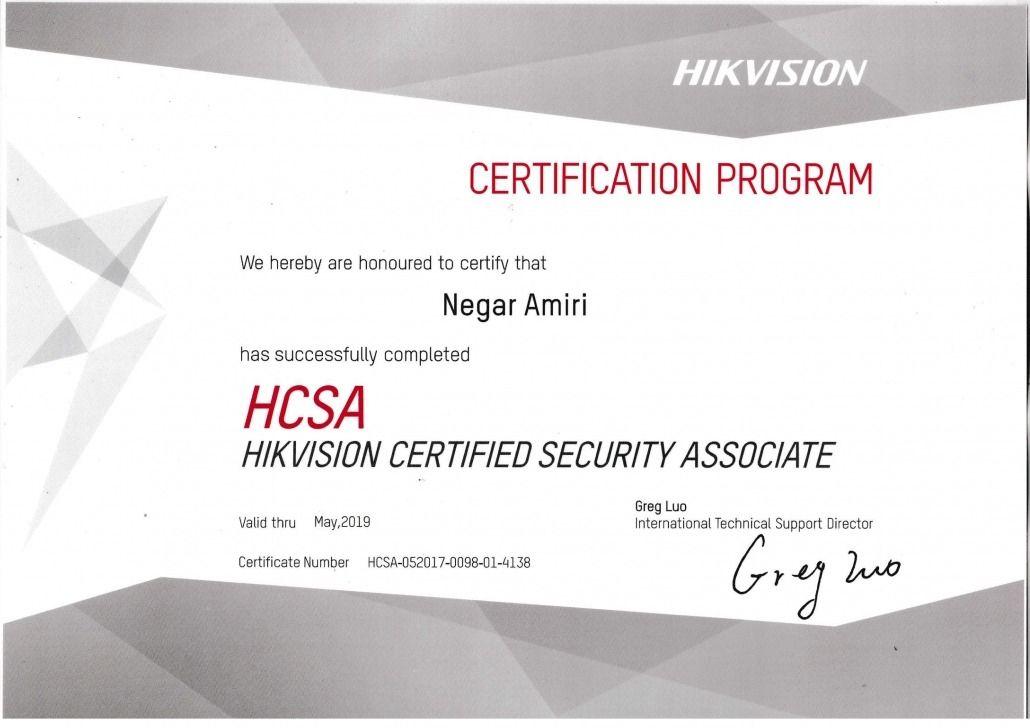 گواهینامه دوره HCSA نگار امیری